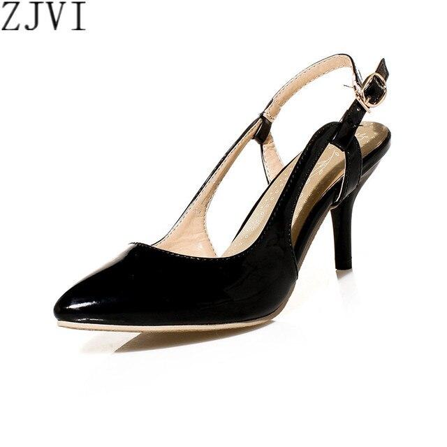 ZJVI Negro rojo verde beige slingbacks punta estrecha Mujeres tacones delgados Bombas de patentes mujer summer casual zapatos de las mujeres zapatos de fiesta