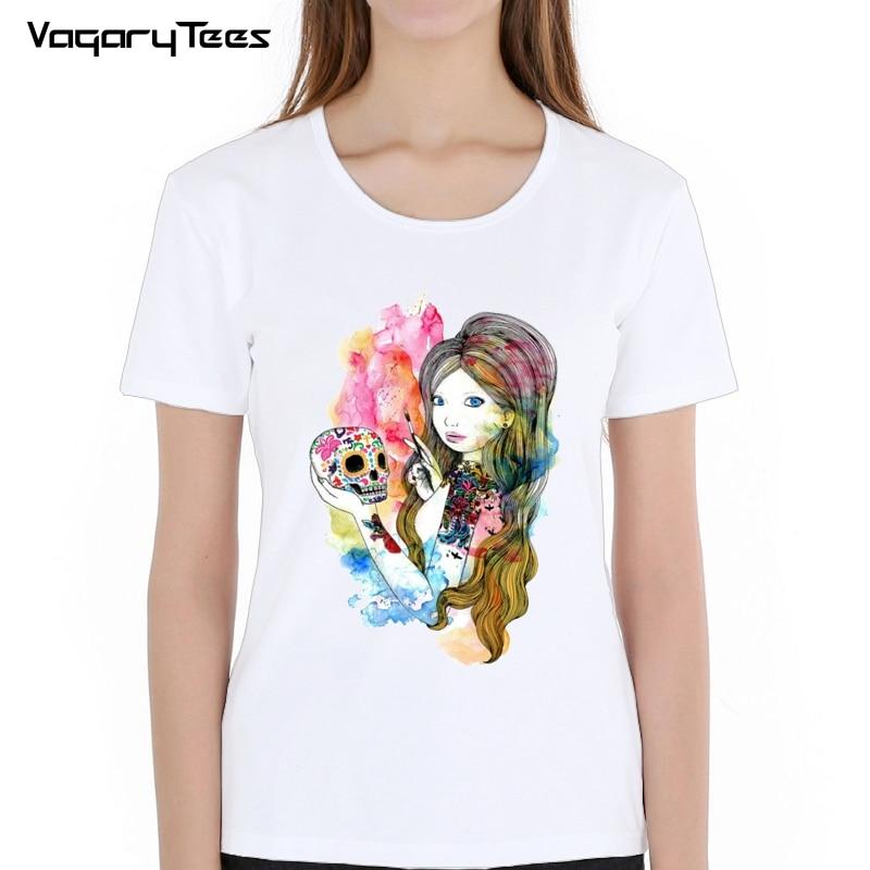 2019 New Cartoon Girl sugar Skull Print T-shirt Summer Fashion Tops Tees for Women Clothing