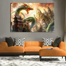 Abstract Oil Painting Wall Art Chinese Dragon Poster Vintage Canvas Pictures For Living Room Decroation Home Decor(China)