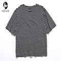 TOP Justin Bieber men's fashion hiphop hipster urban clothing black white Striped oversized t shirt extended cotton tee