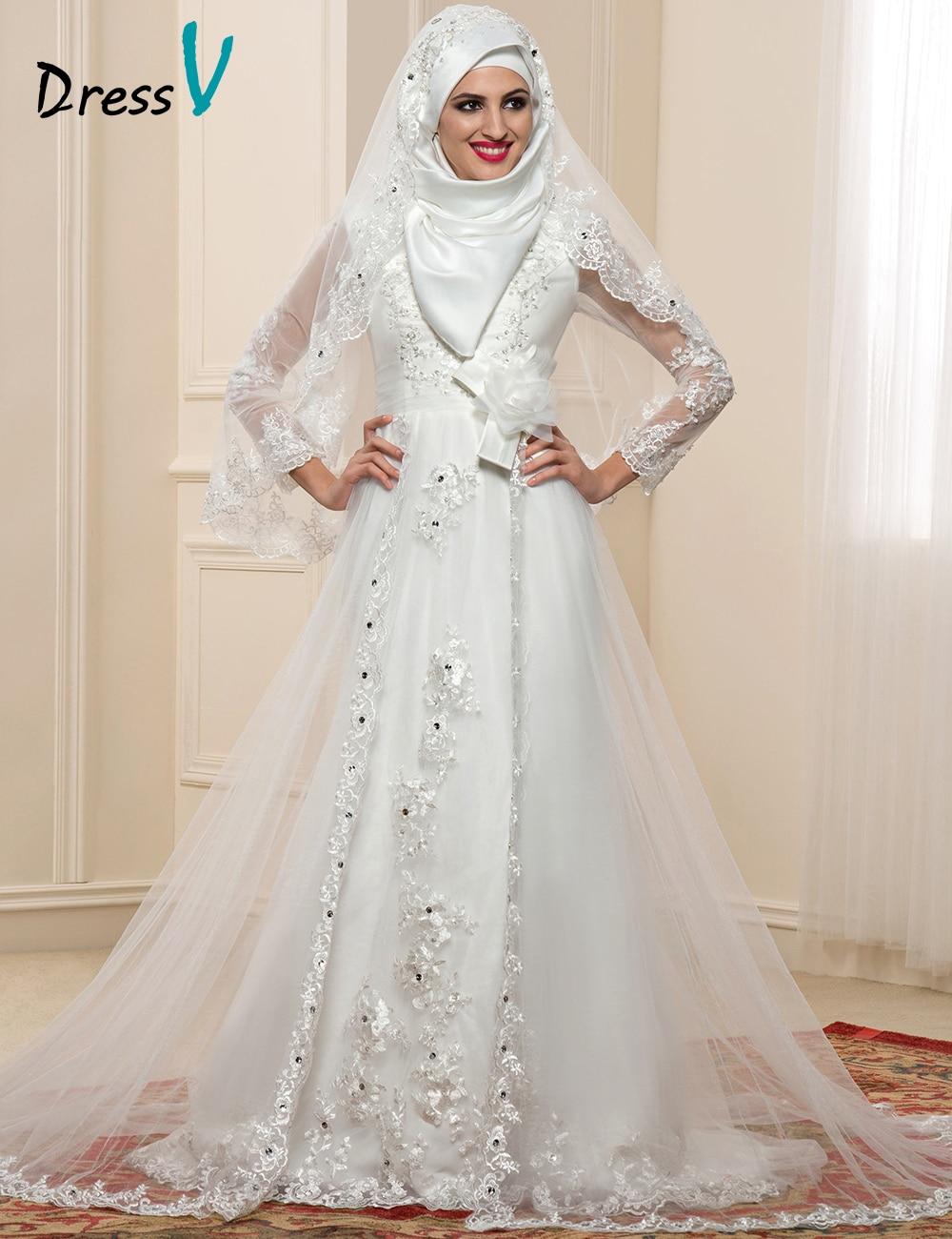 Buy sheer long sleeve muslim wedding for Long sleeve sheer wedding dresses
