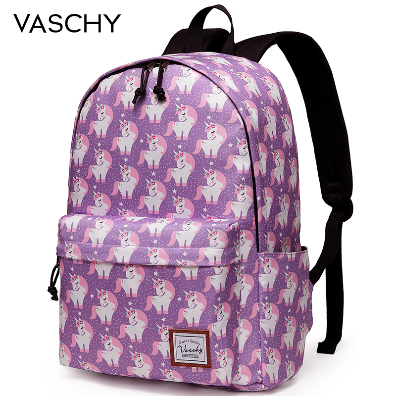 Flower Decorated Unicorn School Bag Backpack Women Fashion Bag Girl Daypack Print Zipper Students Unisex Adult Teens Gift
