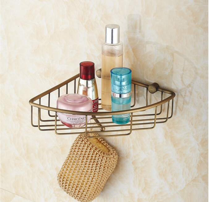 Wall Mounted Antique Brass Bathroom Soap Basket Holder Shower Shampoo Shelf Bath Shower Shelf corner shelf building materia цена