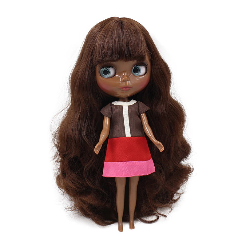 fortune days factory blyth doll super black skin tone darkest skin brown hair BL0312 normal body 1/6 30cm fortune days factory blyth doll super black skin tone darkest skin dark brown hair joint body 1 6 30cm bl0521