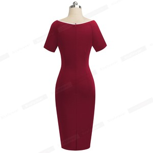 Image 2 - Nice Forever Elegant Vintage Patchwork Work vestidos Business Party Bodycon Office Sheath Women Dress B519