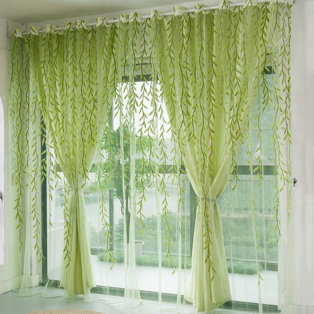1 Stücke Grün Willow Schiere Vorhang Für Wohnzimmer Fenster