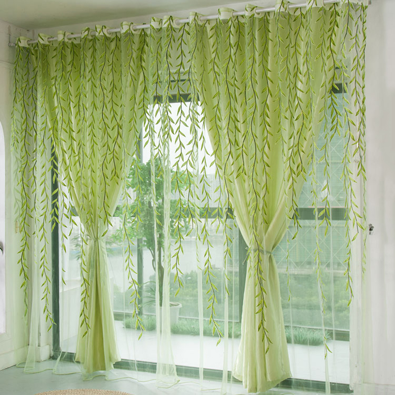 1pcs Green Willow Sheer Curtain For Living Room Window Blackout Curtains Home Decor Draperies Drapes Green