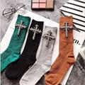 Crystal Socks For Women Winter CZ Diamonds With Cross Hand- Made Autumn Socks Short Cotton Socks New Arrived Fashion