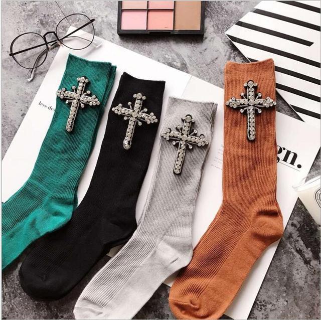 Crystal Socks For Women Winter CZ Diamonds With Cross Hand- Made Autumn Socks Short Cotton Socks New Arrived Fashion