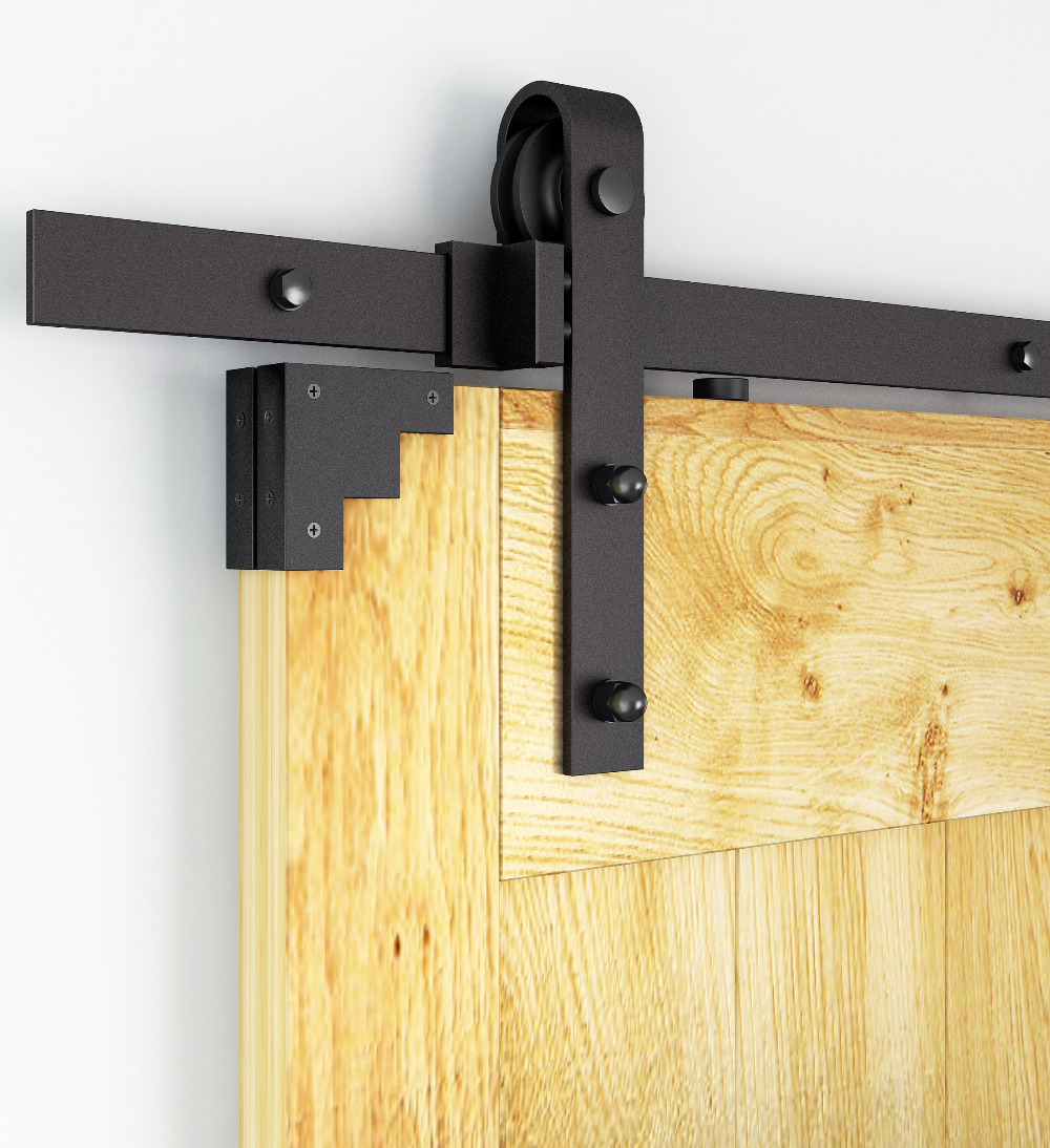 DIYHD Rustic Black Bent Straight Sliding Barn Wood Closet Door Interior Door Sliding Track Hardware Kit