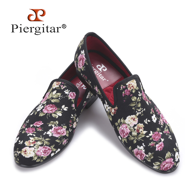 Piergitar 2018 New Handmade Flower printing Men Canvas Shoes Men Wedding and Party Loafers Men Flats Size US 4-17 Free shipping woman beautiful royal blue wedges sandal summer sexy cut outs design charming tassels ankle lace up peep toe female party shoes