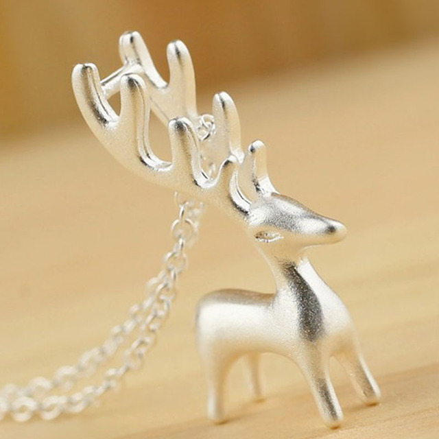 PATICO Simple Cute 925 Sterling Silver Elk Necklace for Women 3D Animal Pendant Choker Necklaces Summer Party Accessories
