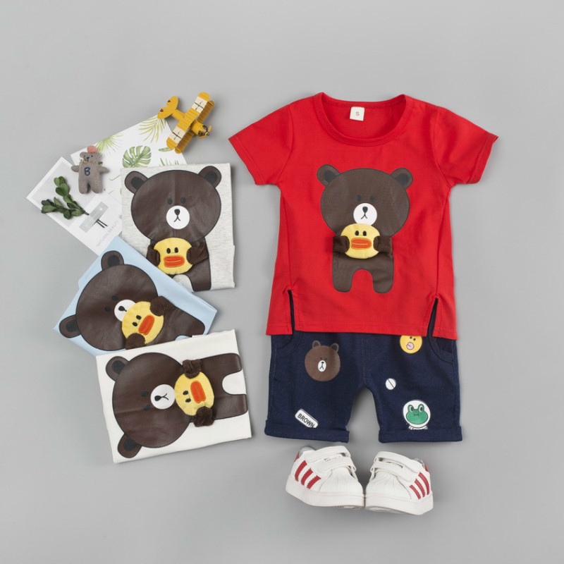 Summer Kids Clothes Sets For Girls Boys Cartoon Cute Bear T Shirts + Shorts Children Clothing Sets Outwear 2018 Baby Suits