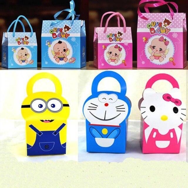 Free Shipping 20 X Cartoon Doraemon Minions Gift Box Cute Baby Shower Candy Paper