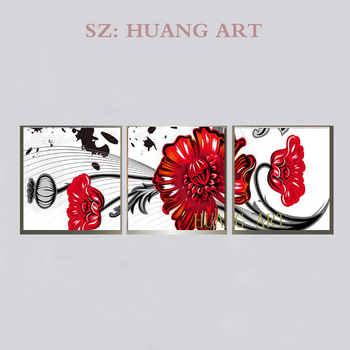 Hand painted 3 flowers bloomed flowers modern canvas I abstract composite flower painting on the canvas art deco wall