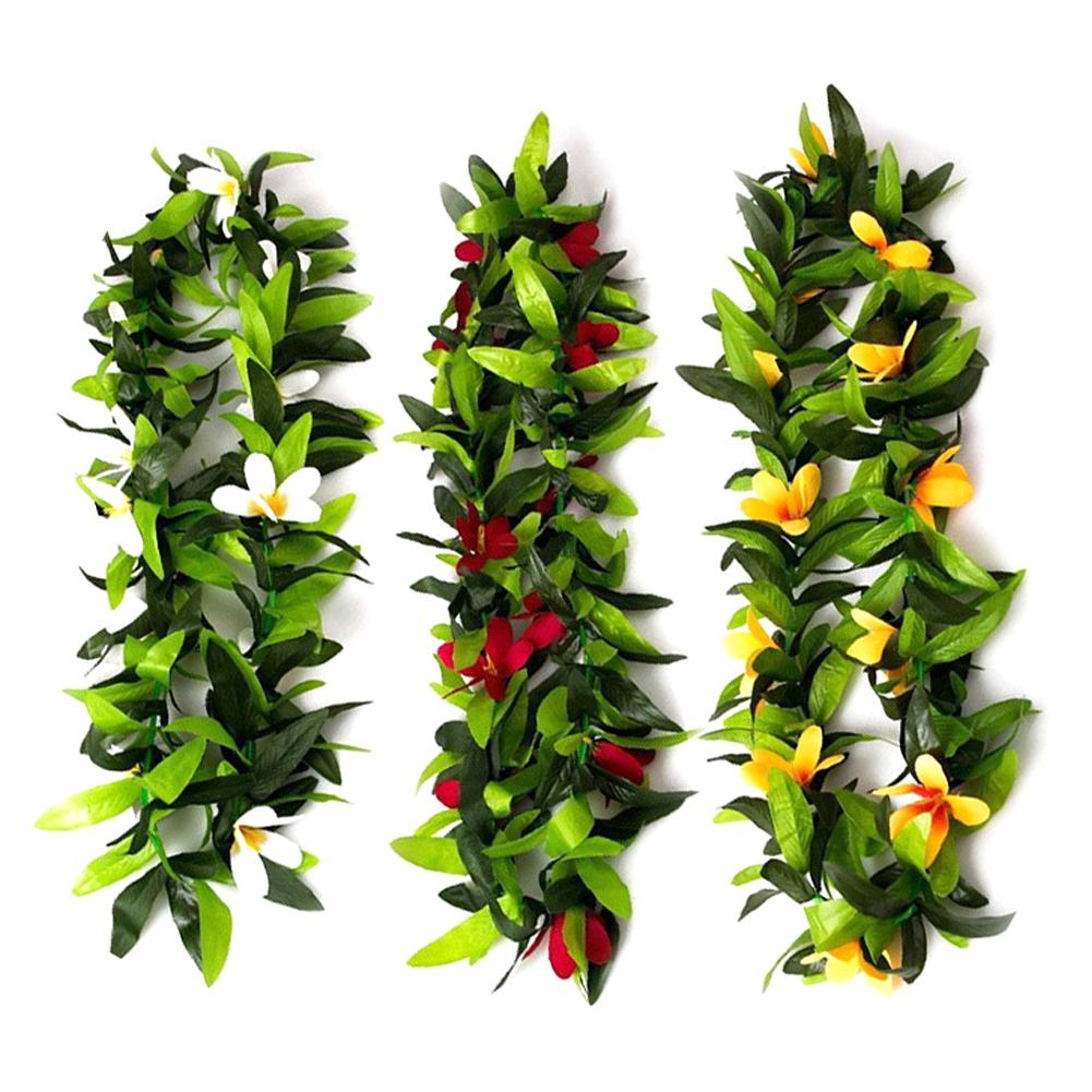 Красочное ожерелье-гирлянда из Гавайских листьев, венок из Гавайских листьев, Пляжное праздничное платье для вечеринки, украшение для дома ...