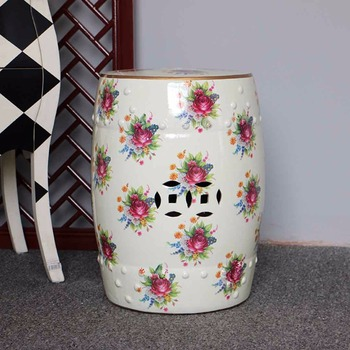 Beautiful Flower Design Porcelain Garden Stool For Indoor And Outdoor