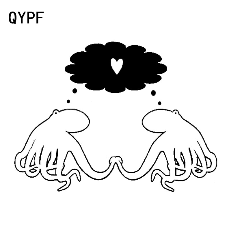 QYPF 18.1cm*13.6cm The Taste Of Love Skiped Jumping About Female And Male Octopus Black/Silver Car Sticker Vinyl Decal C18-0213