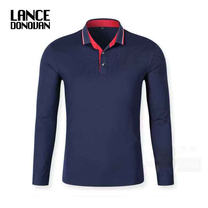 New 2017 Autumn Men Polo Shirt Mens Long Sleeve Solid Polo Shirts 94% Cotton Good Quality Plus Size XS-3XL