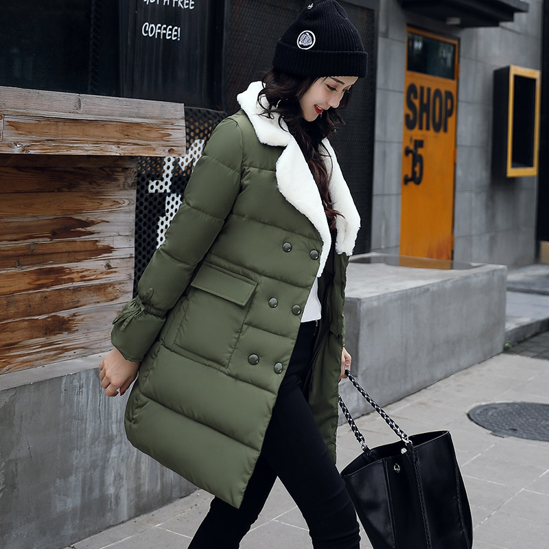где купить 2017 Lambs Wool Cotton Padded Clothes Down Jackets For Women Thick female jacket Coat Down Warm Clothing Female Coats Long Green по лучшей цене