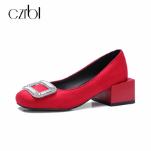 CZRBT Crystal Pumps Women Shoes 2018 Summer Square Heel Handmade Casual Shoes Women Round Toe High Heel 5cm PLUS SIZE 33-47