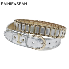 RAINIE SEAN Woman Belt Punk Rock Women Leather Sliver Pin Buckle Patchwork Streetwear Hip Hop Ladies Jean Belts With Metal