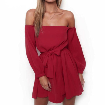Summer Off Shoulder Dress Women Fashion Bowknot Belts Casual Loose Beach Sundress Ladies Long Sleeve Elegant Party Dresses #Zer