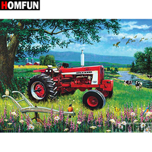 HOMFUN 5D DIY Diamond Painting Full Square/Round Drill  Tractor scenery Embroidery Cross Stitch gift Home Decor Gift A09113 homfun 5d diy diamond painting full square round drill tractor scenery embroidery cross stitch gift home decor gift a09181