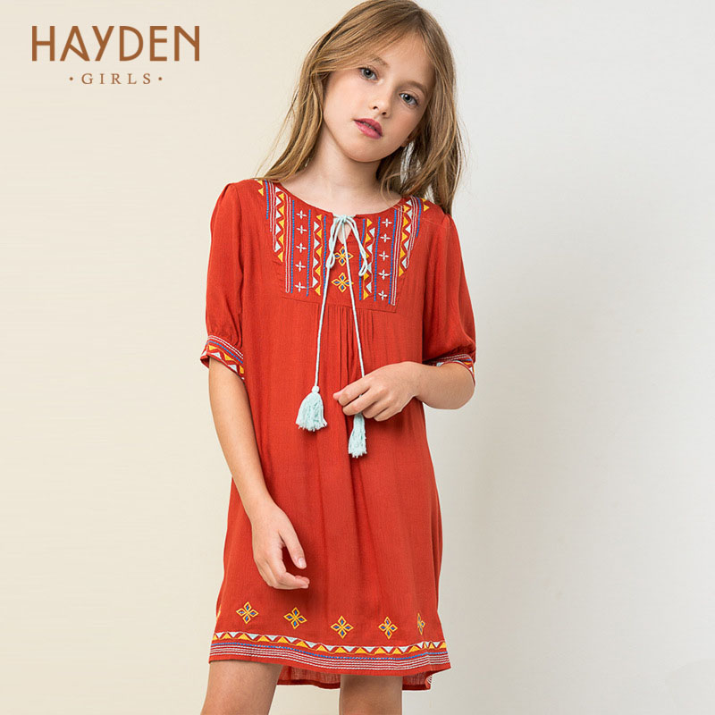 HAYDEN Bohemia teenage girls dresses 12 years half sleeve summer kids children costumes girls clothes 8Y teens fashion clothing купить