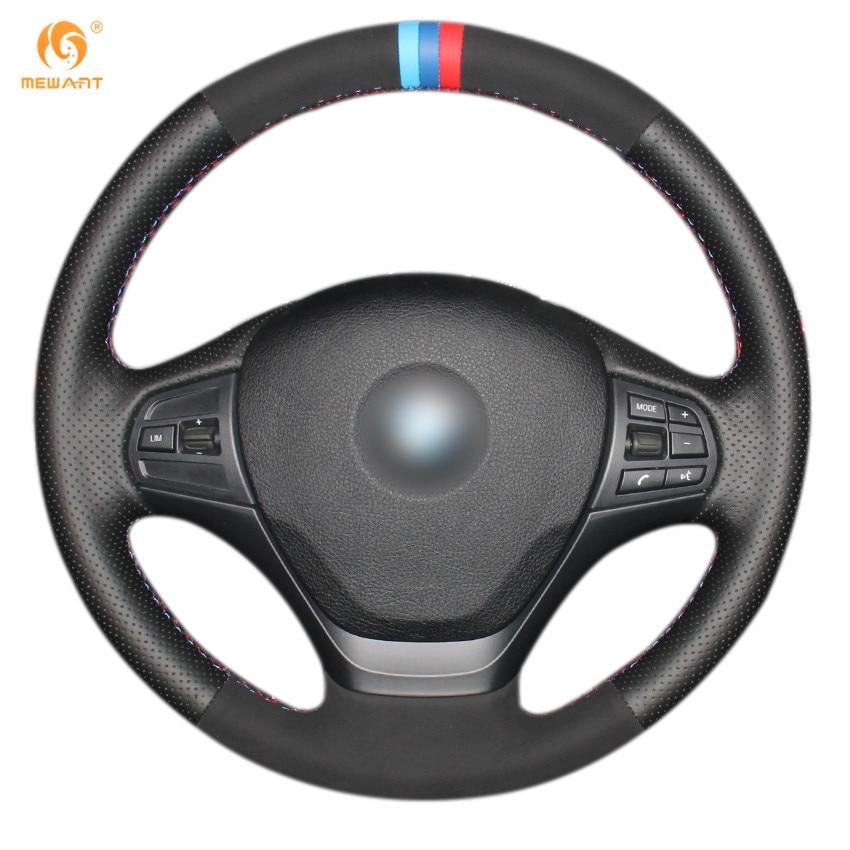 MEWANT черный Натуральная кожа черные замшевые руль Обложка для BMW f30 с 316 седан 328i 320i спортивный