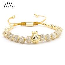 Luxury Brand mens bracelet CZ punk king crown lion ball charm adjustable braided macrame bracelets bangles for accessories