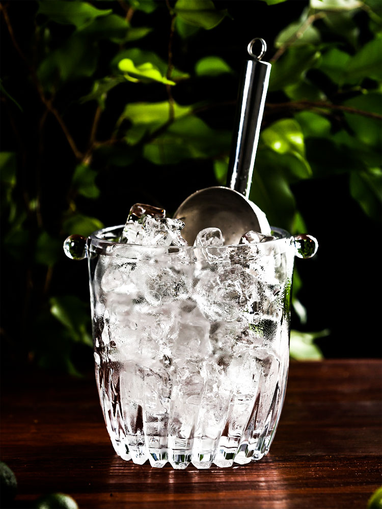 Japanese style glass ice bucket bartender champagne bucket Bar with ice clip
