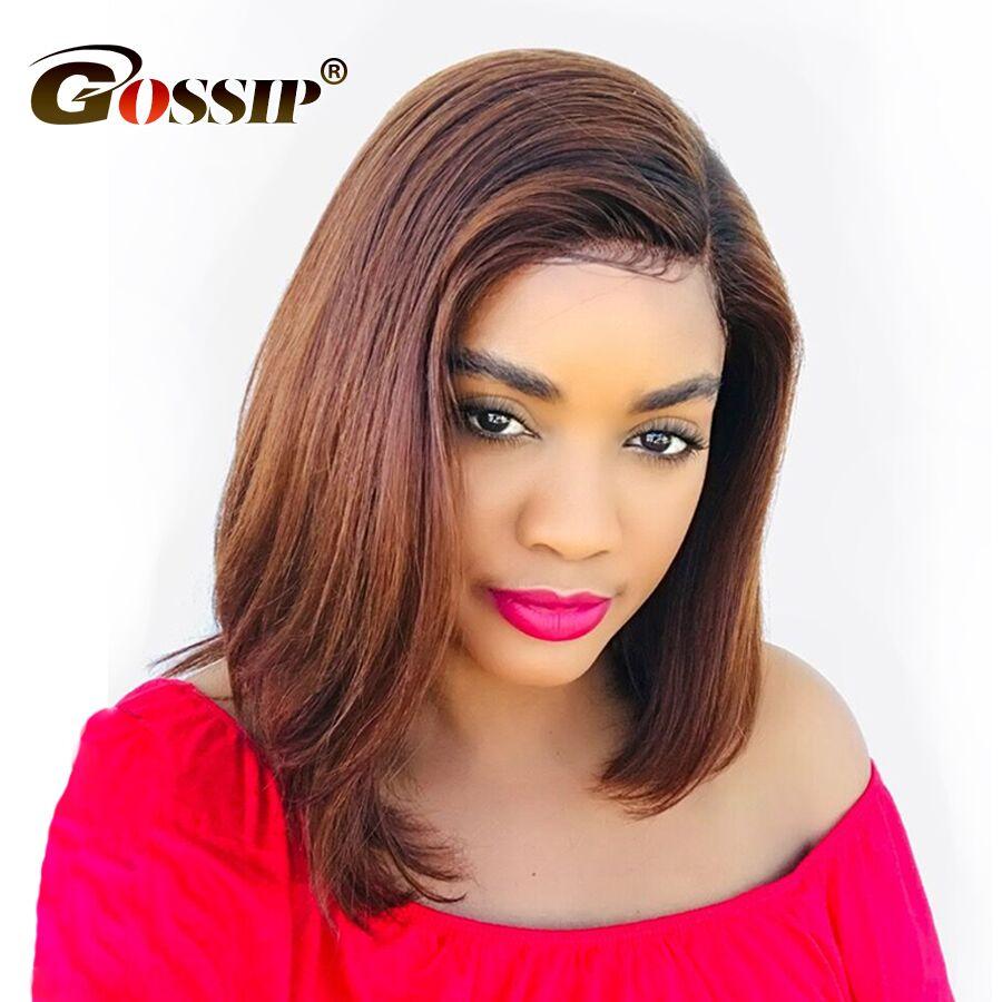 12 6 Lace Peruvian Straight Hair Short Wigs For Black Women Gossip Short Human Hair Wigs