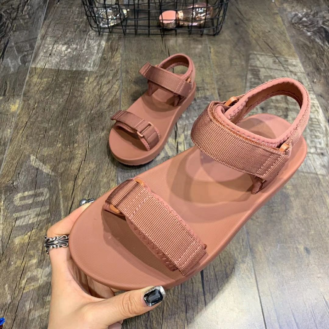 Binhbet sandálias de plataforma de couro feminino 2019 verão sapatos grossos moda fivela de sola grossa casual mulher sandália praia