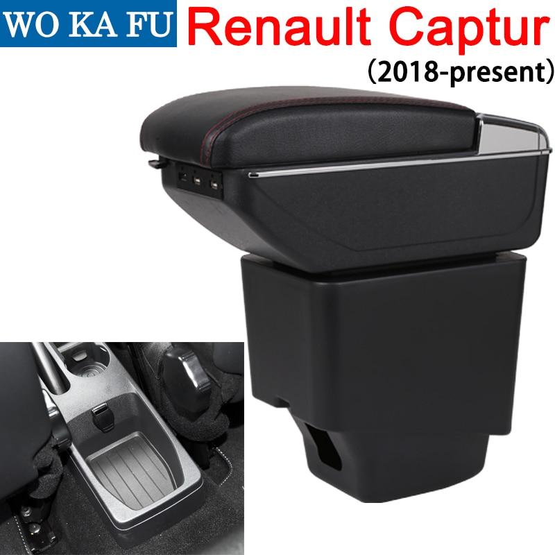 Para Renault capture II 2018 caja de reposabrazos universal de la consola del centro del coche accesorios de modificación caja doble elevado con USB