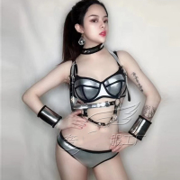 2019 Fashion Sliver Shining Bra Short Outfit Women DJ Singer Sexy Nightclub Birthday Party Bikini Suit Stage Dance Wear DWY1350