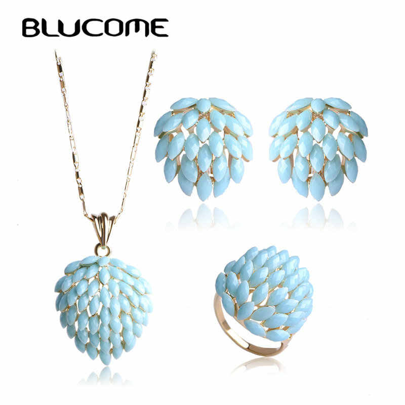 Blucome Classic Flower Jewelry Set For Women Bridal White Acrylic Resin Statement Necklace Pendant French Hook Earrings Ring Set