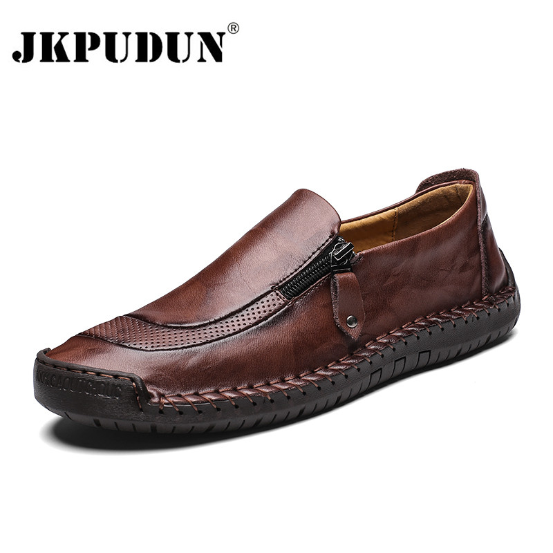 JKPUDUN Men Shoes Casual Genuine Leather Mens Loafers Moccasins Handmade Slip On Boat Shoes Classica