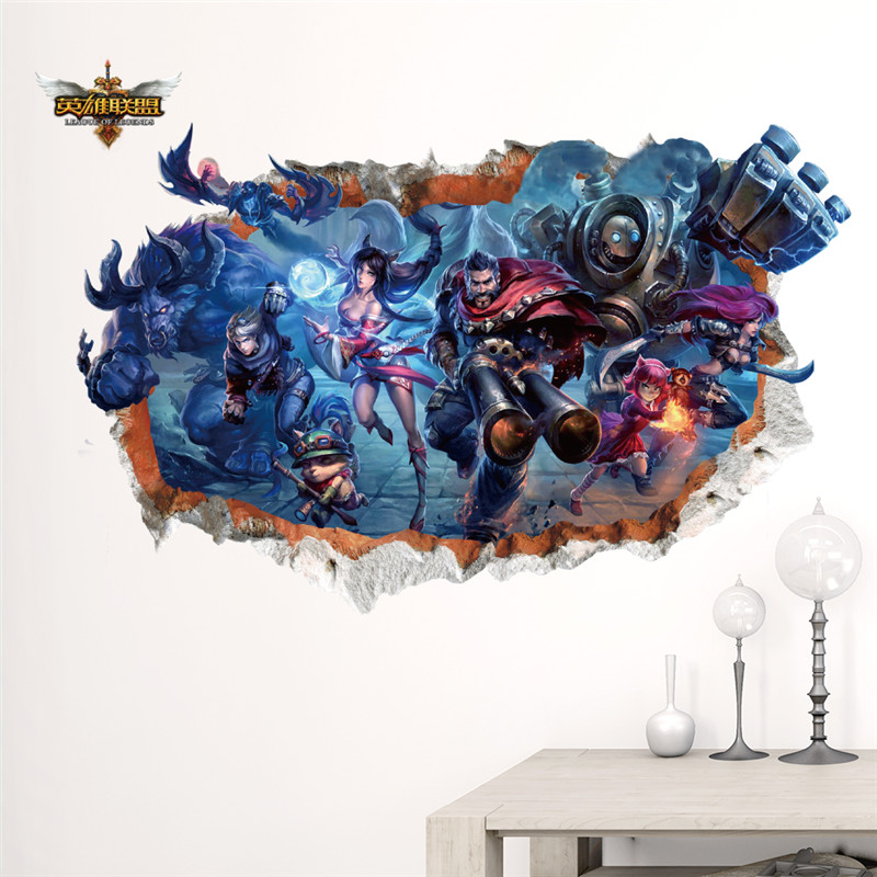 League of legends roles window wall stickers kids room for Decoration 3d games
