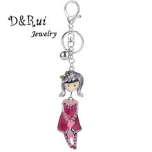 Lovely Doll with a Bear Key Chain Rings for Girls Women Fashion Creative Cartoon Keychain Bag Car Accessory Key Ring Holder cartoon key chain for accessory
