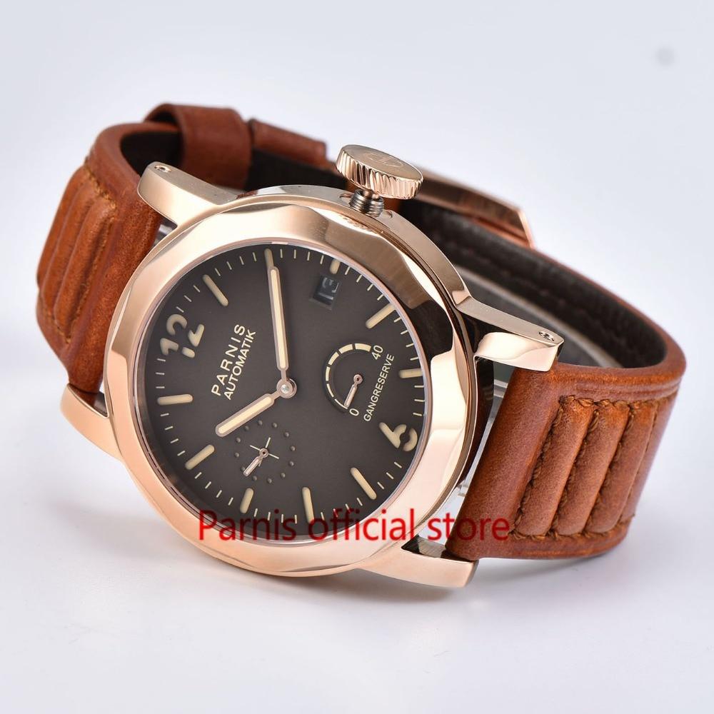 c35e59d4d66 43mm luxusní pánské hodinky Parnis SeaGull Automaticky Hodinky Gold ...