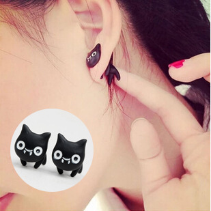 JZTOP Brand Retro Black Double Sided Earrings Vintage Punk Cute Cat PiercingStud Earring Fine Jewelry for Women Girl Gift