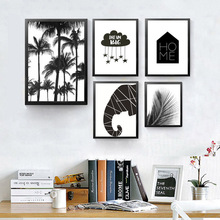 black white abstract canvas painting fashion modern cartoon picture wall art print poster