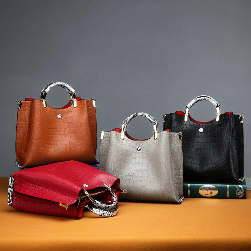 Kualitas Tinggi Buaya Pola Tas Wanita Baru Fashion Kapasitas Besar Santai Liar Temperamen Bahu Messenger Tas