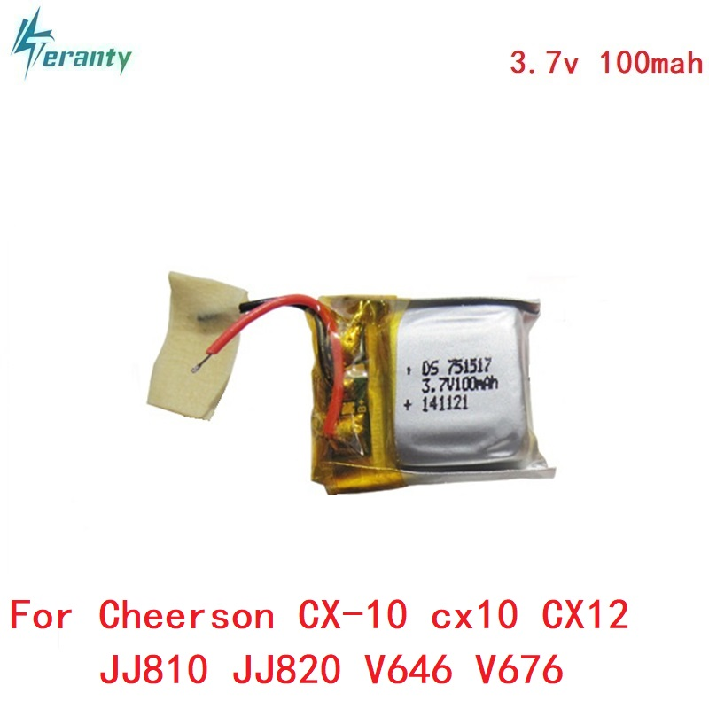 3.7v 100mah 20c for Cheerson CX-10 cx10 CX12 JJ810 JJ820 V646 V676 RC Helicopter/RC quadcopter 3.7 V 100mah Li-po battery 751517 10pcs lot cx 10 3 7v 100mah battery for cheerson cx 10a fq777 124 wltoys v272 v282 v292 hubsan q4 h111 mini rc quadcopter parts