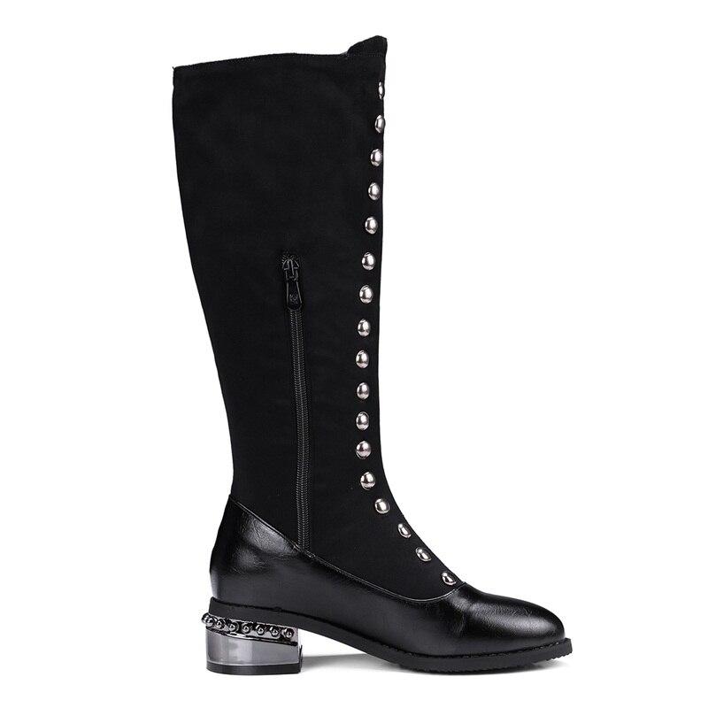 Femme Med Chaussures Femmes Haute Talons Black Noir Bout Rivets Bottes 2018 Pointu Facndinll Genou Mode Moto Qulaity Longues kZOXwuiPT