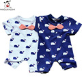 2017 New Born Baby Clothes Short Sleeve Whale Print Baby Romper Roupas Bebes Baby Boys Jumpsuits Infant Baby Girls Costume