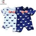 2017 Novas Roupas de Bebê Nascidos Baleia Impressão Romper Do Bebê de Manga Curta Roupas Bebes Meninos Macacões Infantis Meninas Do Bebê Traje