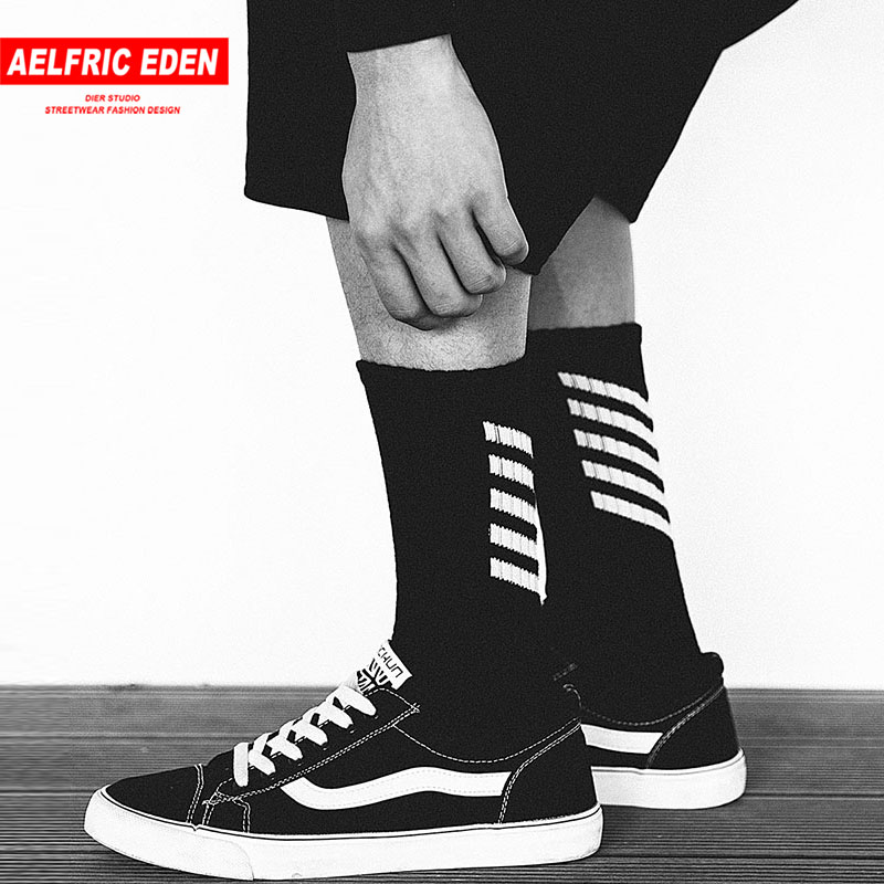 Aelfric Eden Men Long Socks Cotton Casual Striped Letter Crew Harajuku Comfortable Sokken Skateboard Sox Unisex Happy Sock Ae022
