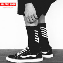 Aelfric Eden Men Long Socks Cotton Casual Striped Letter Crew Harajuku Comfortable Sokken Skateboard Sox Unisex Happy Sock Ae022(China)